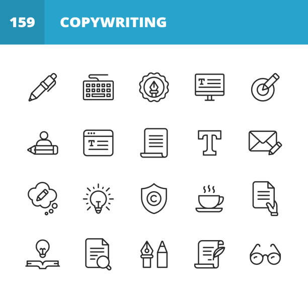 Copywriting Line Icons. Editable Stroke. Pixel Perfect. For Mobile and Web. Contains such icons as Pencil, Newspaper, Magazine, Pen, Writing, Reading, Brainstorming, Creativity, Typewriter, Marketing, Book, Notebook, Quote, Keyboard, Idea, Typography. 20 Copywriting Outline Icons. Pen, Pencil, Writing, Reading, Brainstorming, Creativity, Thinking, Storytelling, Content Marketing, Keyboard, Monitor, Newspaper, Digital Magazine, Typography, Target, Deadline, Book, Notebook, Blog, Freelance Writer, Work From Home, Remote Work, E-Mail, Text Messaging, Copyright, Glasses, Research, Quote, Coffee, Agreement, Document. copywriter stock illustrations