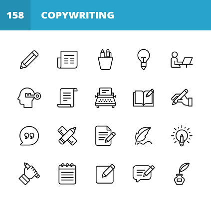 Copywriting Line Icons. Editable Stroke. Pixel Perfect. For Mobile and Web. Contains such icons as Pencil, Newspaper, Magazine, Pen, Writing, Reading, Brainstorming, Creativity, Typewriter, Marketing, Book, Notebook, Quote, Keyboard, Idea, Typography.