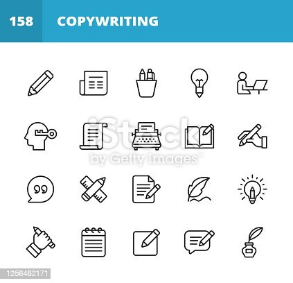 20 Copywriting Outline Icons. Writing, Pencil, Pen, Newspaper, Reading, Magazine, Office, Brainstorming, Creativity, Work From Home, Freelancing, Typewriter, Marketing, Paper, Book, Notebook, Quote, Keyboard, Idea, Typography, Text Messaging, Online Messaging. Chat, Autograph, Signature.