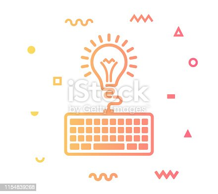 Copywriting outline style icon design with decorations and gradient color. Line vector icon illustration for modern infographics, mobile designs and web banners.