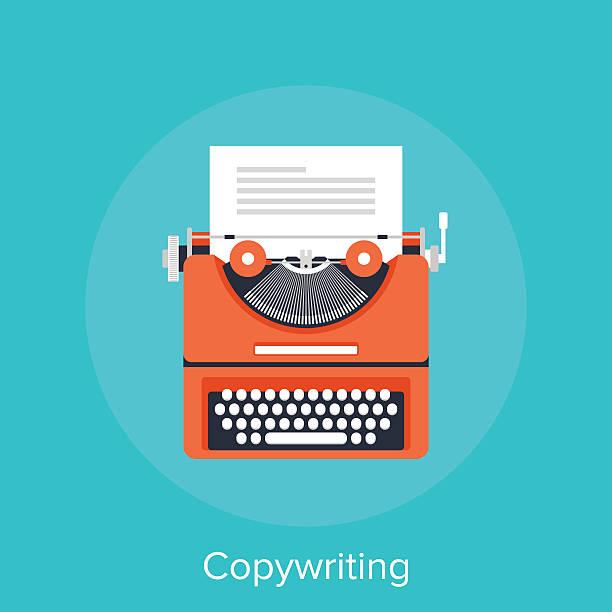 Copywriting Vector illustration of copywriting flat design concept. obsolete stock illustrations