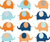 Coral and Navy Cute Elephant set