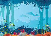 Vector coral reef, school of fishes, underwater cave and silhouette of two dolphins on a blue sea. Nature vector illustration with ocean wildlife.