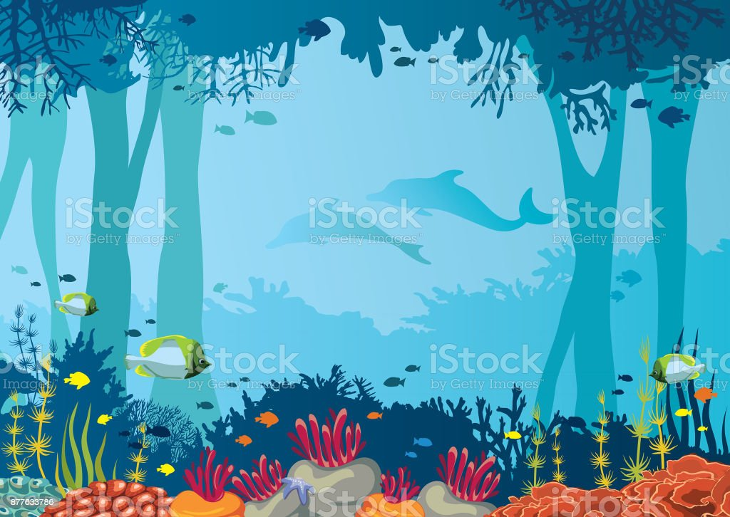 Coral, fish, underwater cave, dolphin and sea. vector art illustration