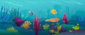 Coral fish underwater background.