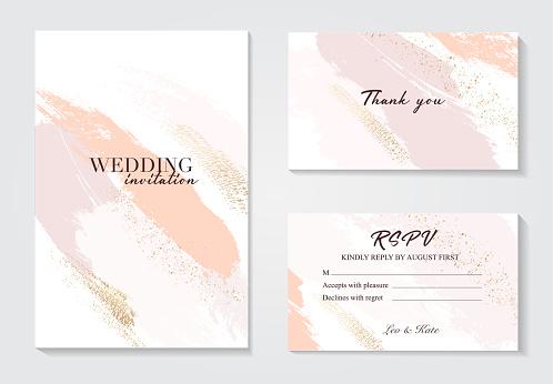 Coral gold greeting brush strokes wedding decoration. Vector glitter orange sparkling background. Watercolor spring hand-drawn design .