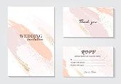 コーラルゴールドグリーティングブラシは、結婚式の装飾をストローク。ベクトルキラキラオレンジ輝く背景.水彩春の手描きのデザイン。