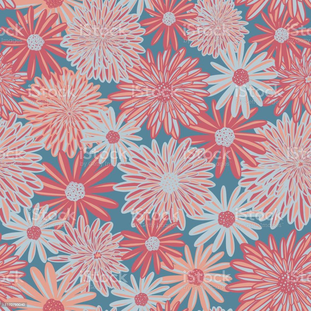 珊瑚粉紅色和藍色雛菊和阿斯特花無縫向量圖案花卉背景當代時令花卉重複