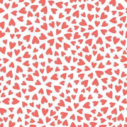 Coral pink hearts seamless pattern. Vector illustration