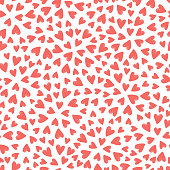 Coral pink hearts seamless pattern. Vector illustration.