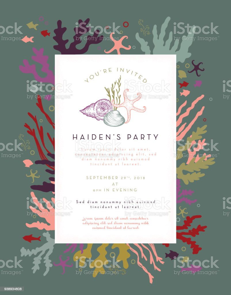 Coral Plants And Fishes Party Invitation Layout Design Template ...