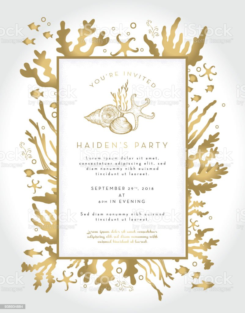 Coral plants and fishes party invitation layout design template coral plants and fishes party invitation layout design template royalty free coral plants and fishes stopboris Images