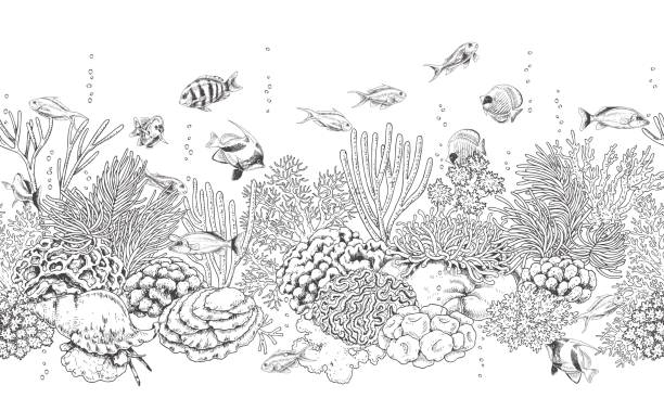 Coral Reef and Fishes Pattern vector art illustration