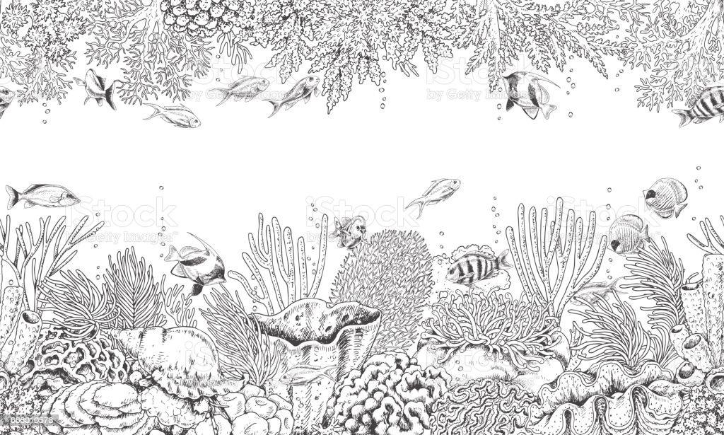 Ilustración de Arrecife De Coral Y Peces De Natación Patrón y más ...