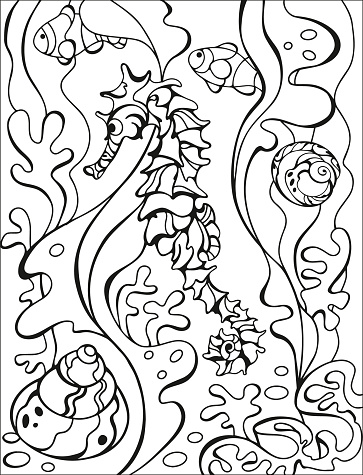 Coral reef, sea Horse and seashells coloring page. Original coloring underwater world. Summer fun. Black and white graphic. Sketch of ornaments for creativity of children and adults. EPS 8.