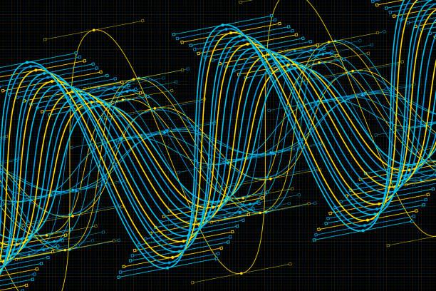 Coral Reef Vector Sine Wave Graph Pattern Horizontal vector art illustration