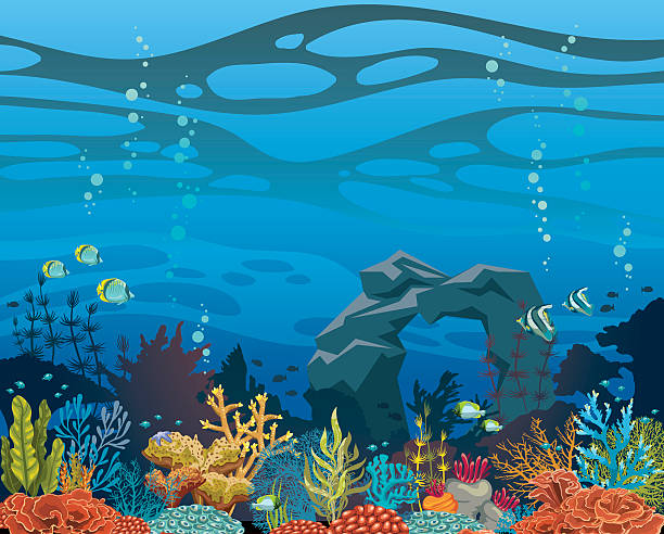 coral reef with fish and arch. underwater sea. - rock formations stock illustrations