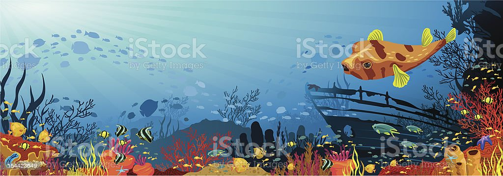 Coral reef with fish, puffer and silhouette of sunken ship vector art illustration