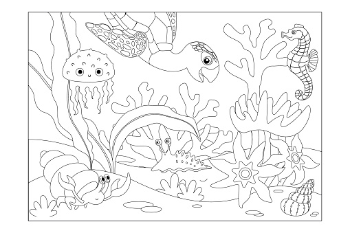 Coral reef with inhabitants: turtle, seahorse, jellyfish, crab, shell, slug. Children's picture coloring. Vector