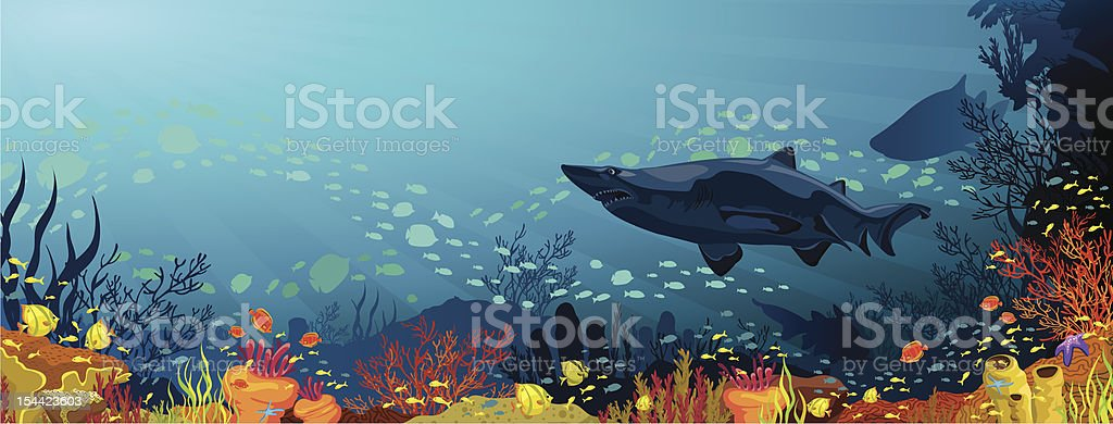 Coral reef with sharks and silhouette of fish vector art illustration