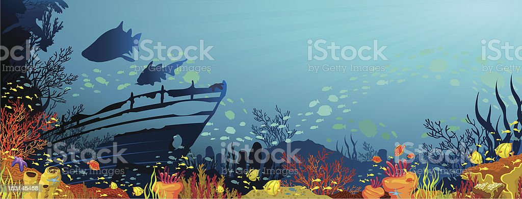 Coral reef with sharks and silhouette of sunken ship vector art illustration