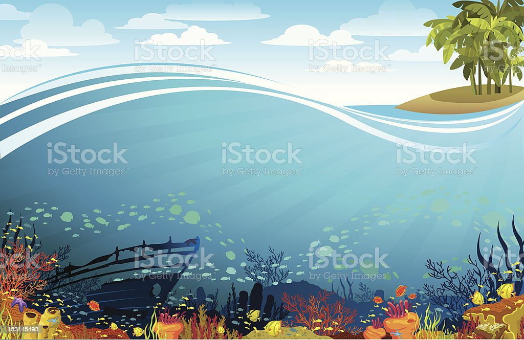 Coral reef with sunken ship under the island vector art illustration