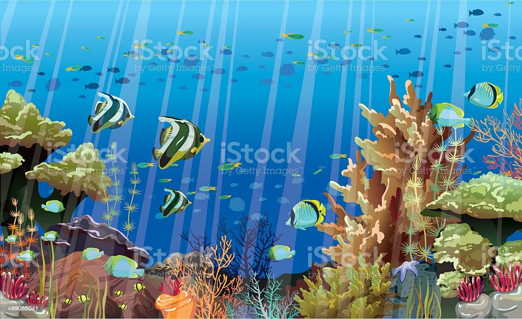 Coral Reef With Underwater Creatures Royalty Free Stock Vector