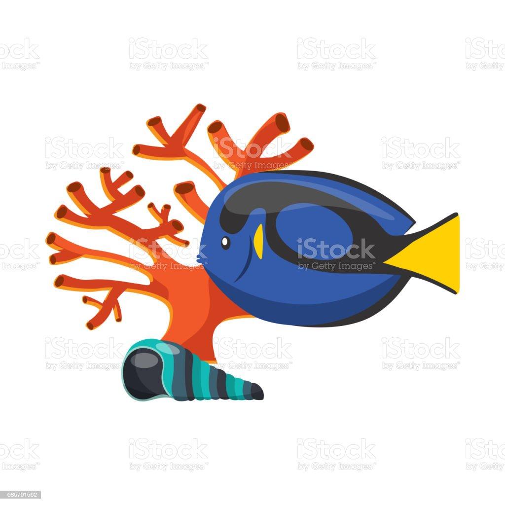 coral, shell and fish icon. Sea life design. Vector graphic coral shell and fish icon sea life design vector graphic - stockowe grafiki wektorowe i więcej obrazów akwarium royalty-free