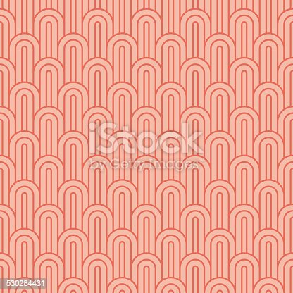 seamless vintage pattern of coralpink overlapping arcs