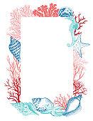 Corals, starfish, seahorse and seashells - Hand drawn illustration.