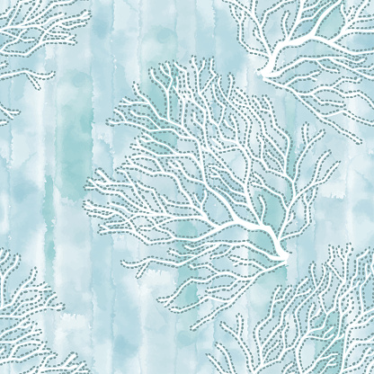 Corals. Seamless vector pattern with underwater plants on blue watercolor background. Abstract floral texture. Perfect for design templates, wallpaper, wrapping, fabric and textile.