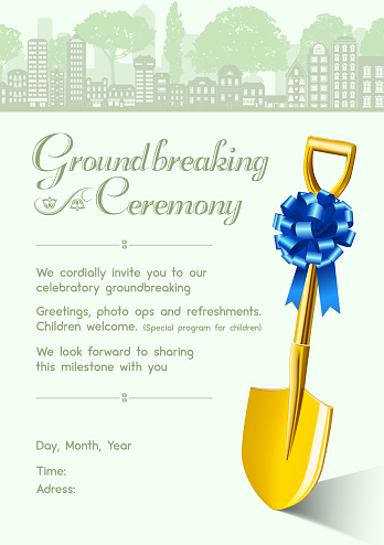 Cordially invitation for groundbreaking ceremony with golden shovel and blue ribbon bow vector illustration