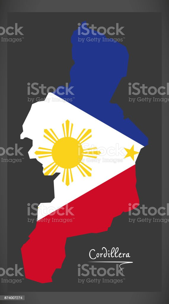 Cordillera map of the Philippines with Philippine national flag illustration vector art illustration