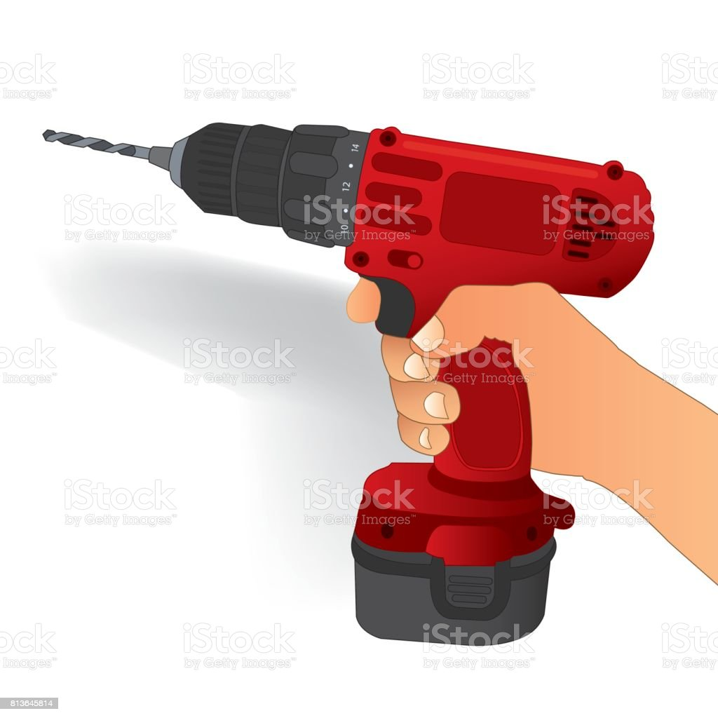 cordless drill vector vector art illustration