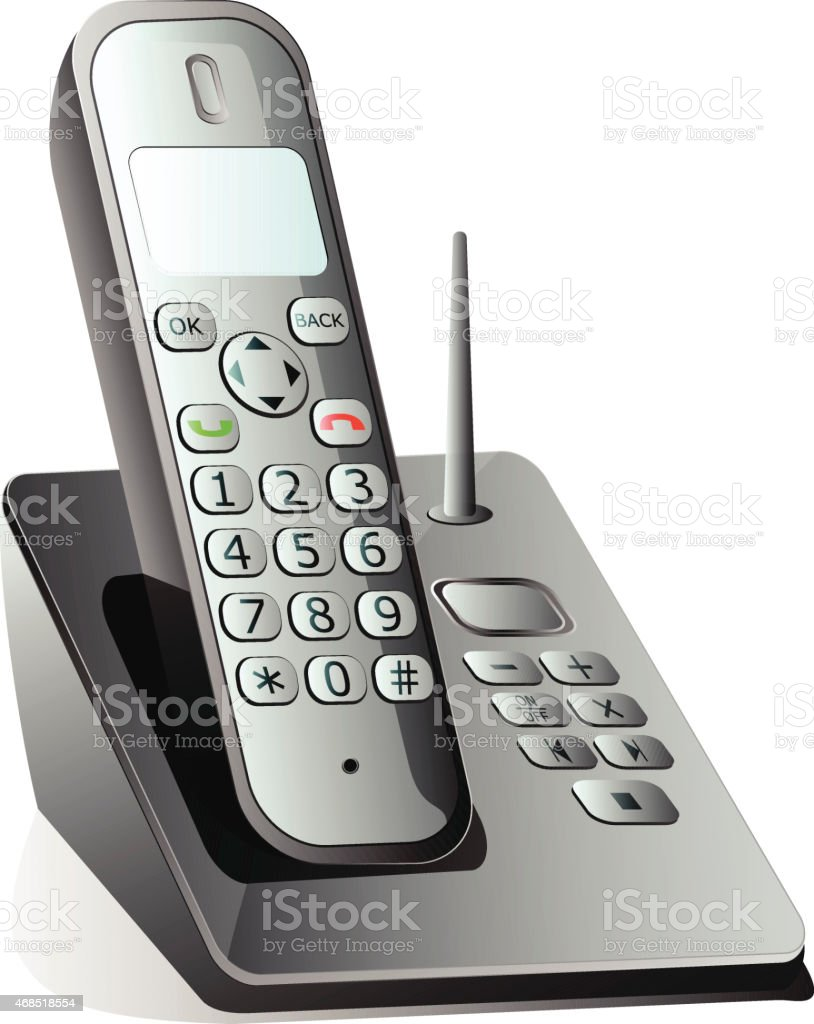 cordless telephone vector art illustration