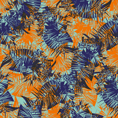 Cordyline leaf abstract seamless vector pattern background. Tropical spiky foliage backdrop in navy blue, orange, indigo Modern botanical overlapping leaves texture. Colorful faux tie dye repeat