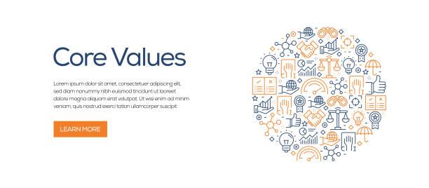 illustrazioni stock, clip art, cartoni animati e icone di tendenza di modello banner valori principali con icone di linea. illustrazione vettoriale moderna per pubblicità, intestazione, sito web. - onestà