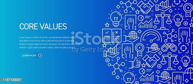 Core Values Banner Template with Line Icons. Modern vector illustration for Advertisement, Header, Website.