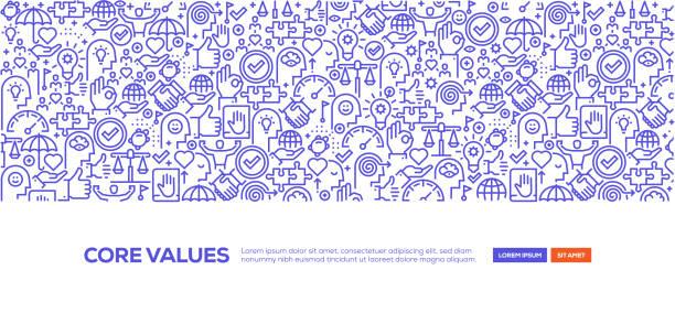 illustrazioni stock, clip art, cartoni animati e icone di tendenza di core values banner - uniforme