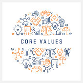 Core Values Concept - Colorful Line Icons, Arranged in Circle