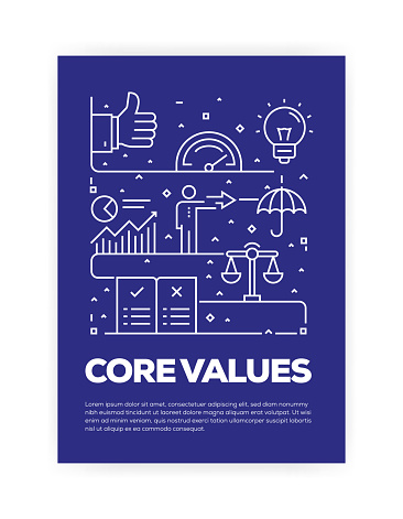 Core Values Concept Line Style Cover Design for Annual Report, Flyer, Brochure.