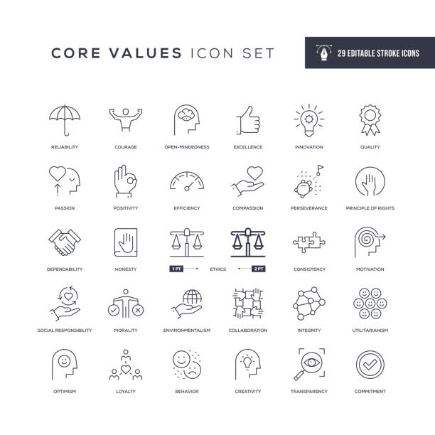 Core Values Editable Stroke Line Icons 29 Core Values Icons - Editable Stroke - Easy to edit and customize - You can easily customize the stroke width conceptual symbol stock illustrations