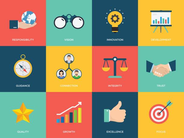 illustrazioni stock, clip art, cartoni animati e icone di tendenza di core values flat icon set - onestà