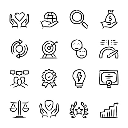 Core Values Hand Drawn Line Icons