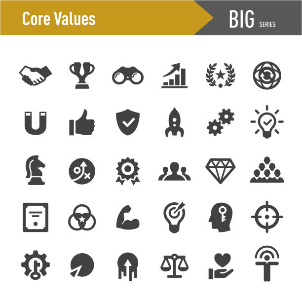 core values icon set - big series - expert stock illustrations