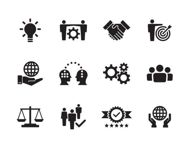 Core Values Icon Set Core Values Icon Set collaboration stock illustrations