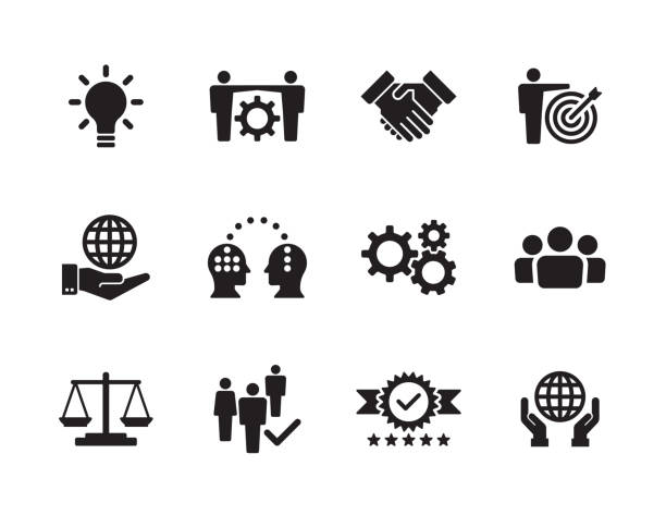 stockillustraties, clipart, cartoons en iconen met kern waarden icon set - trust