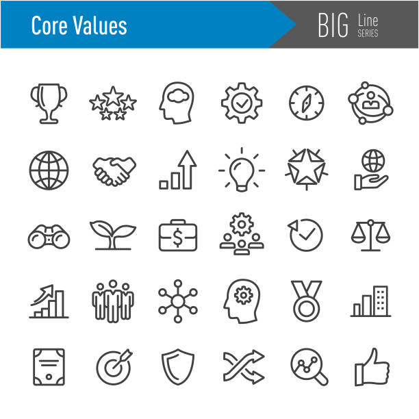 core values icons - big line series - small business stock illustrations