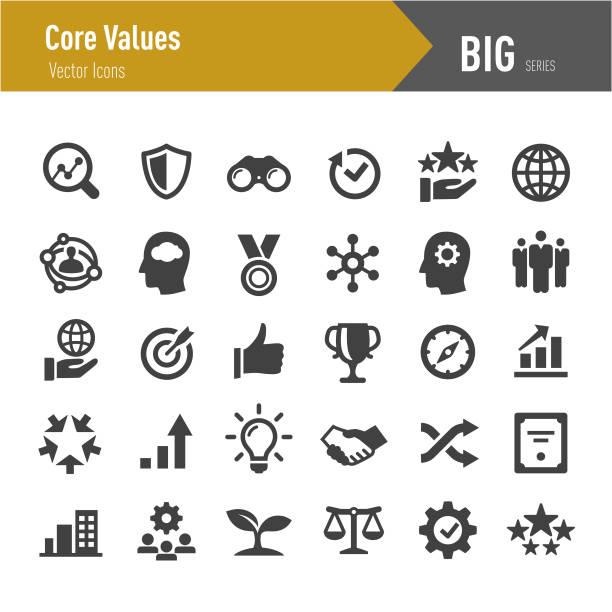 ikony podstawowych wartości - duża seria - biznes stock illustrations