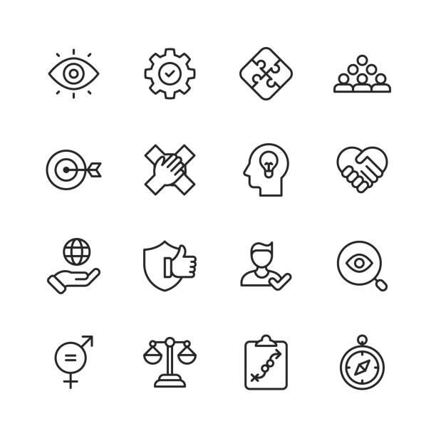 kernwerte-symbole. bearbeitbarer strich. pixel perfekt. für mobile und web. enthält symbole wie verantwortung, vision, geschäftsethik, recht, moral, soziale fragen, teamarbeit, wachstum, vertrauen, qualität. - trust stock-grafiken, -clipart, -cartoons und -symbole